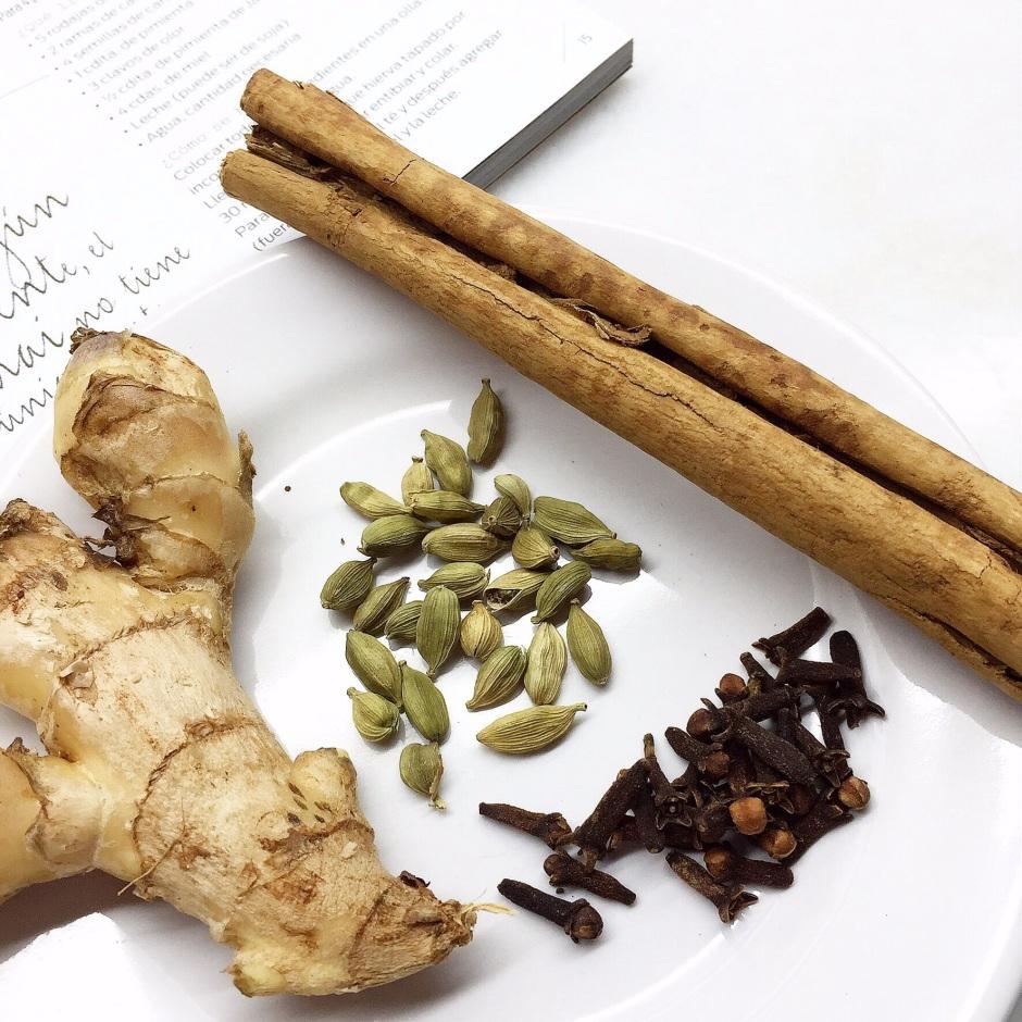 Ingredientes para el Te Chai